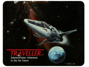 Classic Traveller Place Mat - Traveller logo with starship